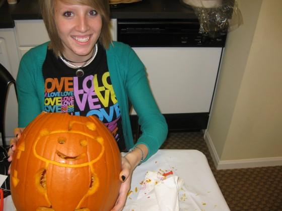 Keeshia McDonald with her Reddit Pumpkin