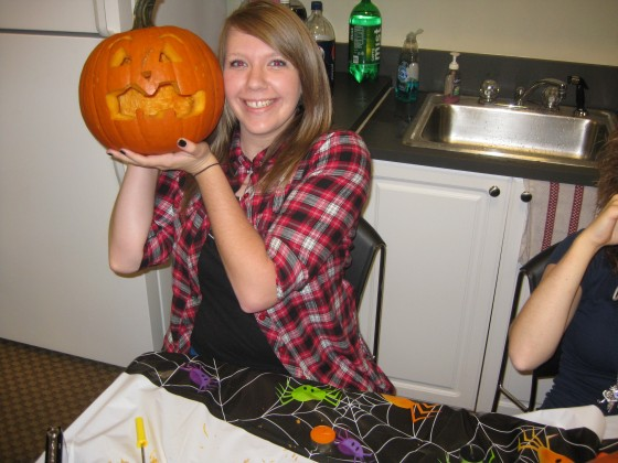 Kay with Her Normal Pumpkin for Halloween