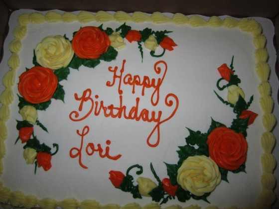 Happy Birthday Lori cake, bought by her sister and brother.