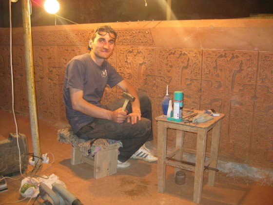 Armenian stone carver working in the city of Abovyan, in the province of Kotayk, doing some amazing work. Definitely got some hammer-chisel skills.