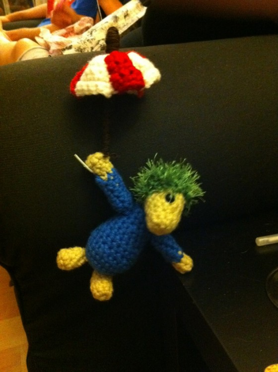 My sister asked her friend to crochet her a Lemming. Nailed it
