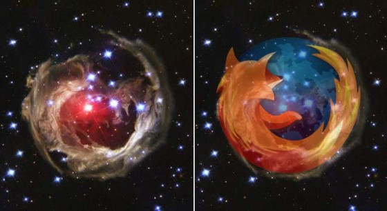 The Firefox symbol looks extremely similar to, V838 Monocerotis, a star captured by the Hubble Telescope