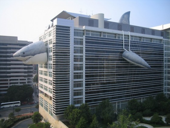 The Discovery Channel building during Shark Week.