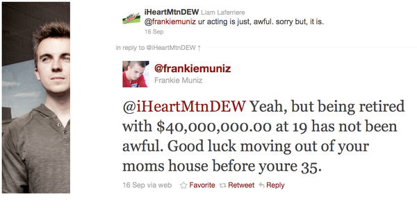 Frankie Muniz putting someone in his place
