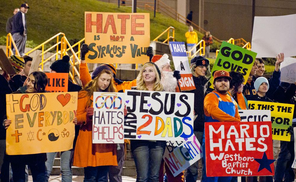 Westboro Baptist Church protested in Syracuse last week. I'm so proud of the city!