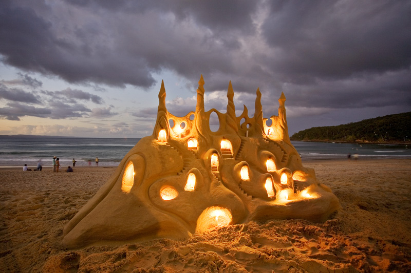 Lighted sandcastle.