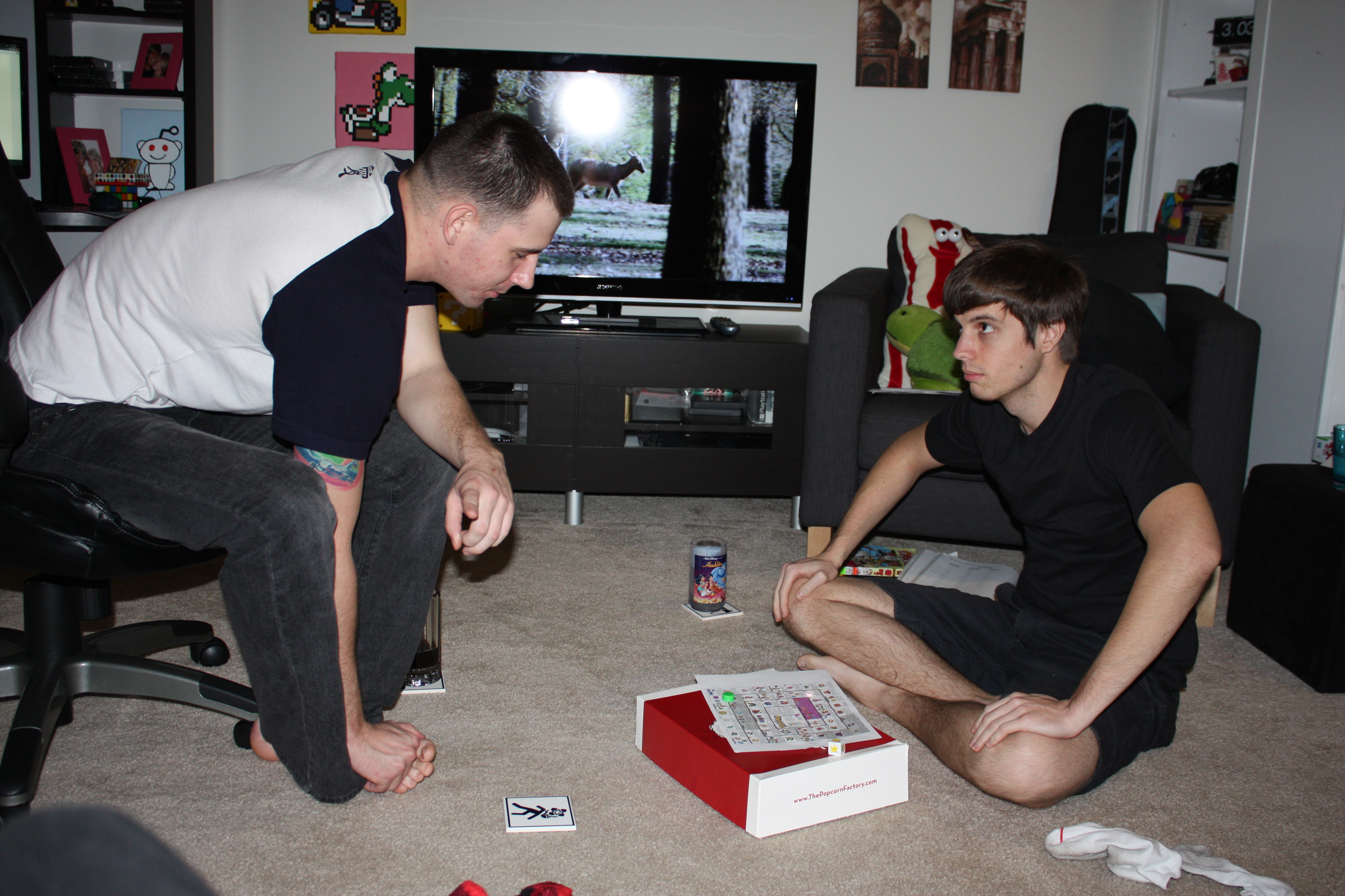 David Holden and Cody Rapol playing the Pokemon drinking game