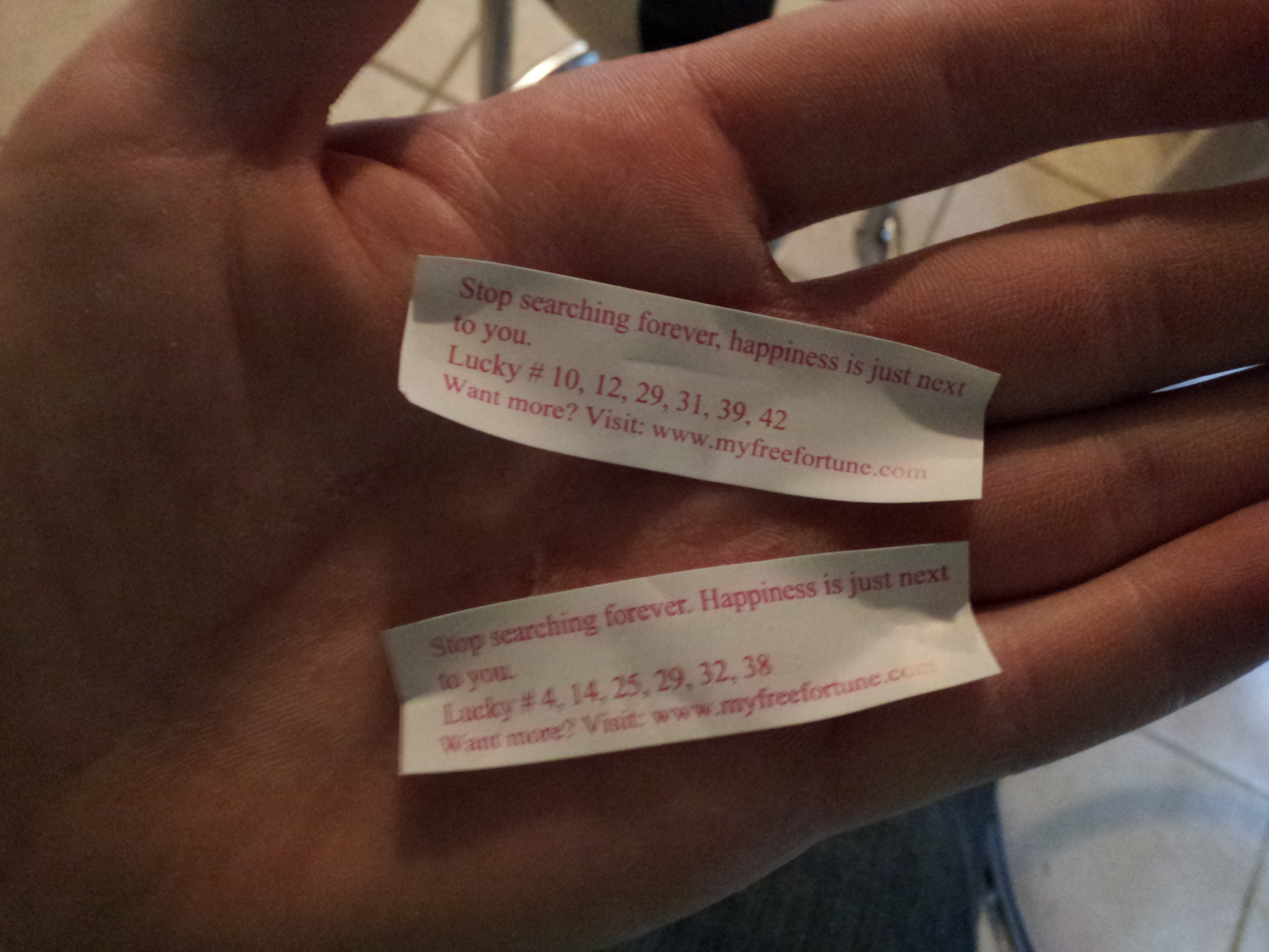 so the girlfriend and i got some Chinese food the other day and checked our fortunes...