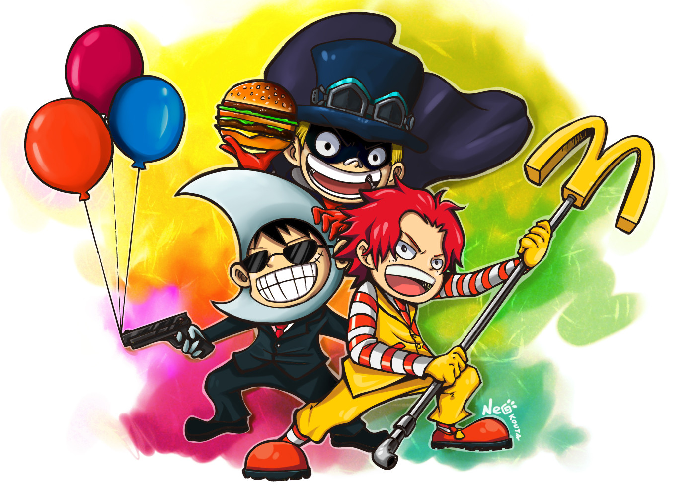 Ace, Sabo, and Luffy dressed as... The McDonald's Bros!