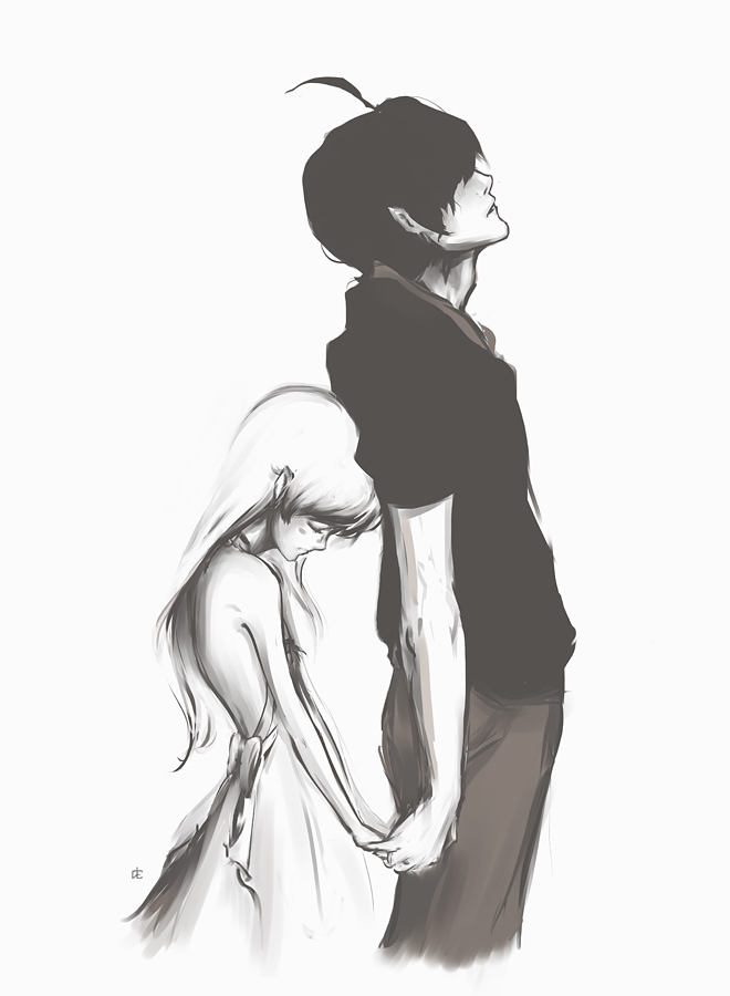 Beautiful drawing of Shinobu and Araragi.